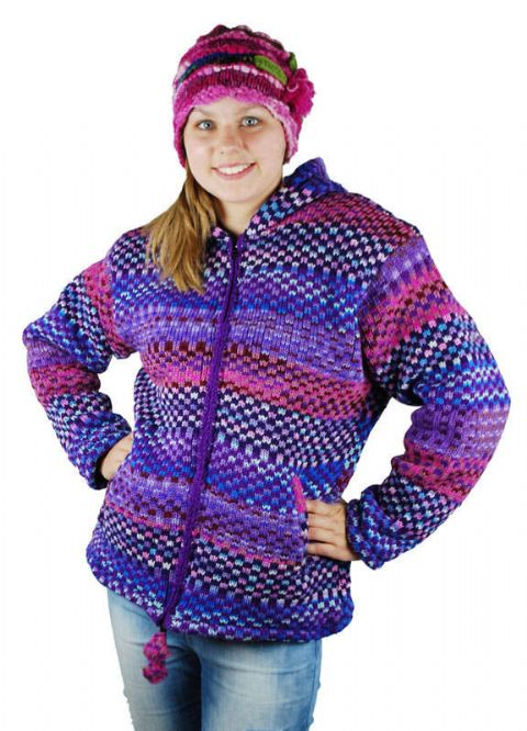 Hippy Jacket~Bohemian Purple Pink Blue Multicoloured Hooded Jacket Zip Up Fleece Lined 100% Wool Hoodie~Fair Trade by Folio Gothic Hippy 9997